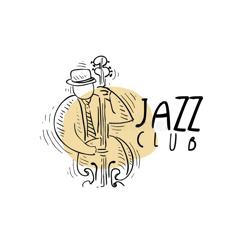 Jazz club logo, vintage music label with saxophonist playing sax, element for flyer, card, leaflet or banner, hand drawn royalty free illustration