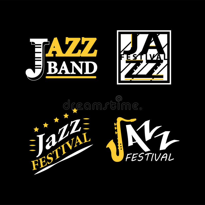 Jazz club musical live festival vector sax and piano icons royalty free illustration
