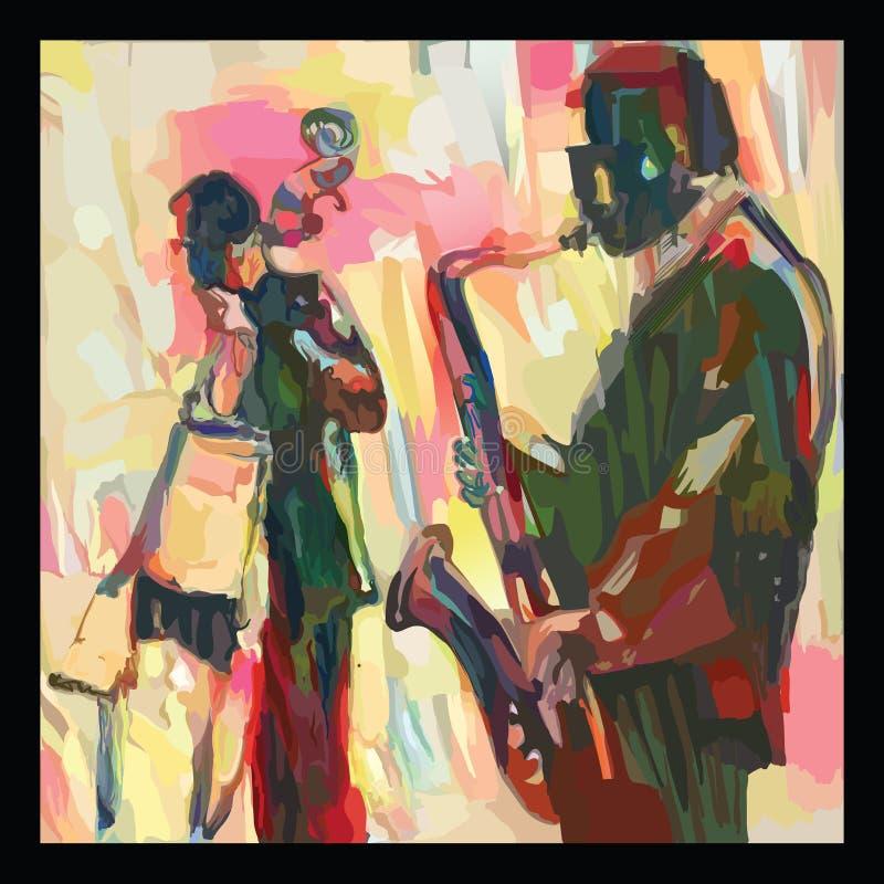 Jazz con el saxofón y el doble-bajo libre illustration