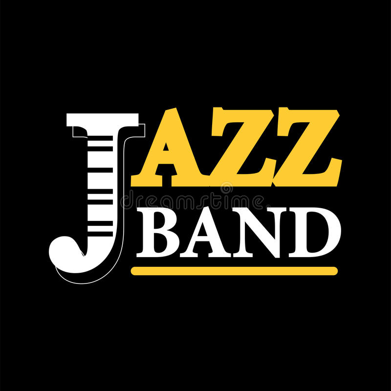 Jazz concert logo label with text isolated on black background vector illustration