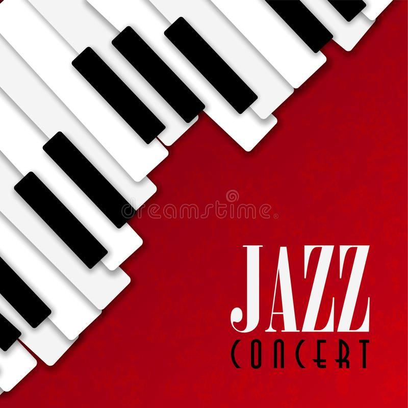 Jazz concert poster with piano background. Jazz concert poster illustration of piano keys on red color background for live music invitation or musical festival royalty free illustration