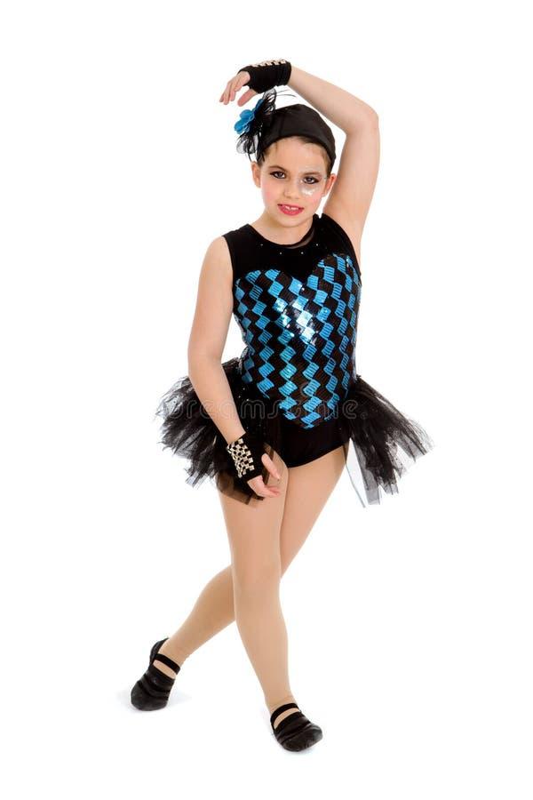 Jazz Dancing Child dans le costume de considérant de harlequin images libres de droits