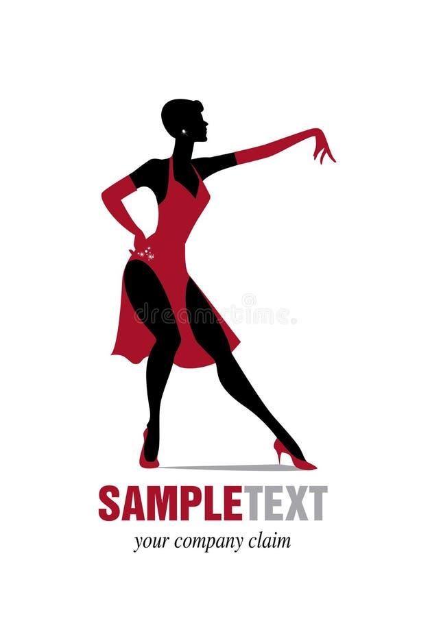 Jazz de danse de silhouette de femme élégante illustration de vecteur