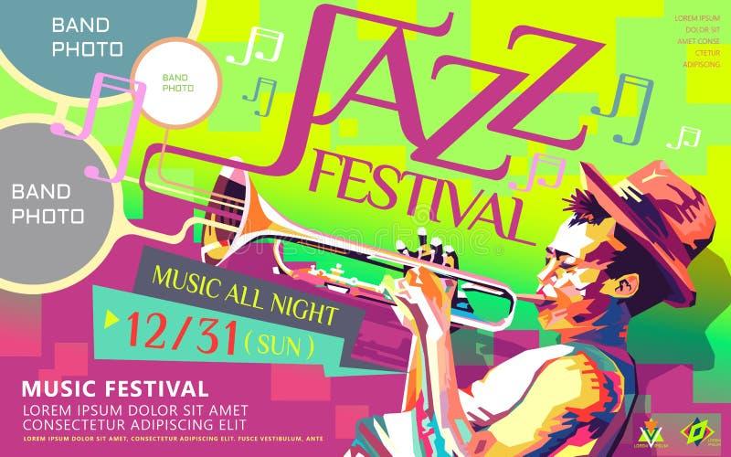 Jazz de hele avond affiche stock illustratie
