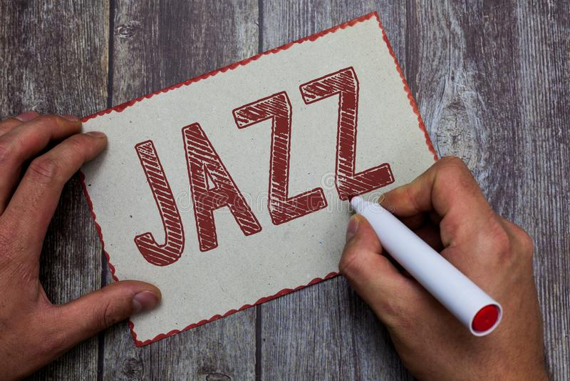 Jazz del testo di scrittura di parola Concetto di affari per ritmo valido facendo uso di ottone e dei legni per giocare la musica immagine stock