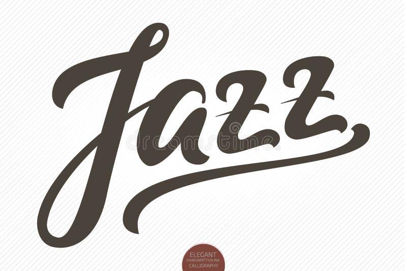 jazz Dragen bokstäver för vektor hand Elegant modern handskriven kalligrafi Färgpulverillustration Typografiaffisch för kort royaltyfri illustrationer