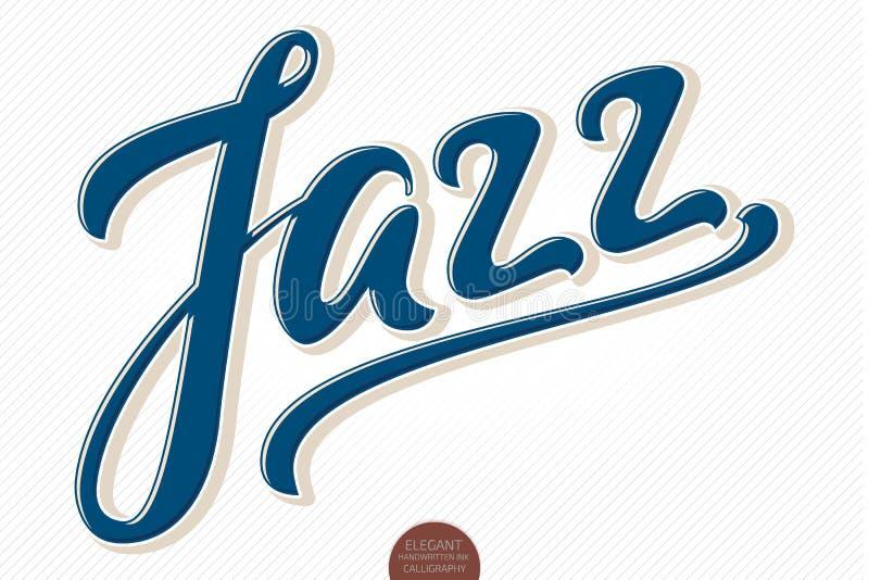 jazz Dragen bokstäver för vektor volymetrisk hand elegant modern handskriven kalligrafi 3D Färgpulverillustration typografi royaltyfri illustrationer