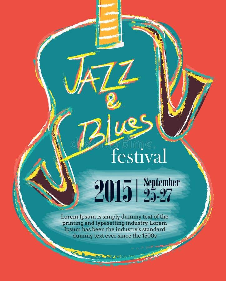 Jazz e cartaz tirado mão dos azuis ilustração stock