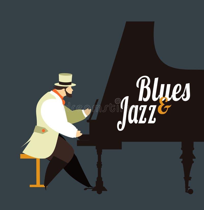 Jazz en blauw stock illustratie