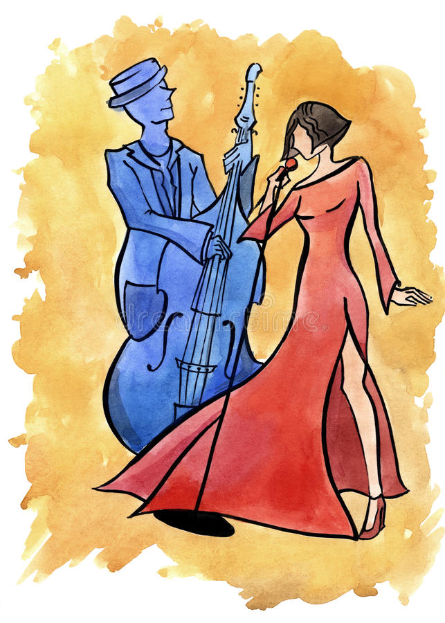 Jazz female singer and bassist vector illustration