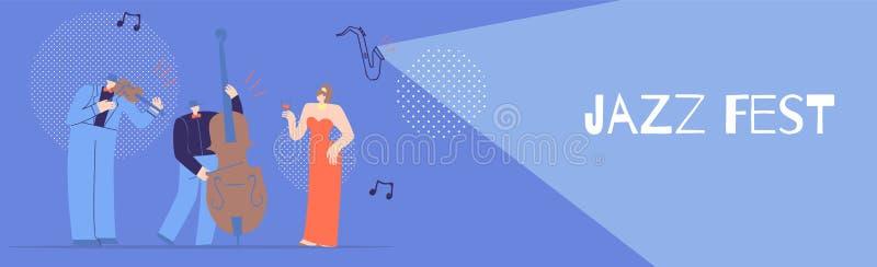 Jazz Fest Flat Banner pour la conception musicale de concept illustration de vecteur