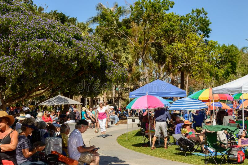 Jazz Fest March 2018 north side. Jazz fest on river walk in Ft. Lauderdale March of 2018. The crowd gathers to listen to live jazz music with local vendors and royalty free stock images