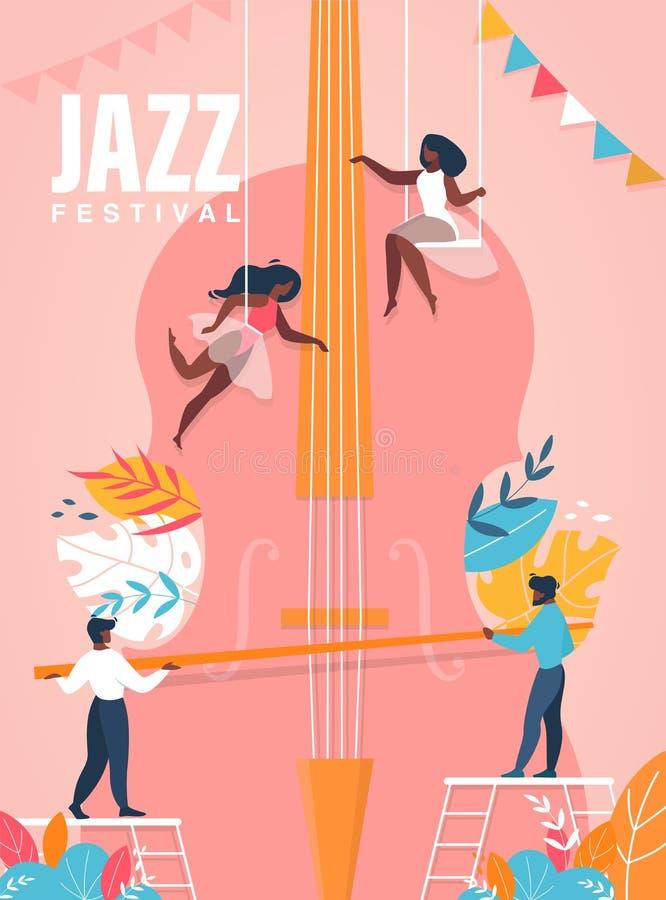 Jazz Festival Banner Les gens jouant sur le violoncelle énorme illustration de vecteur