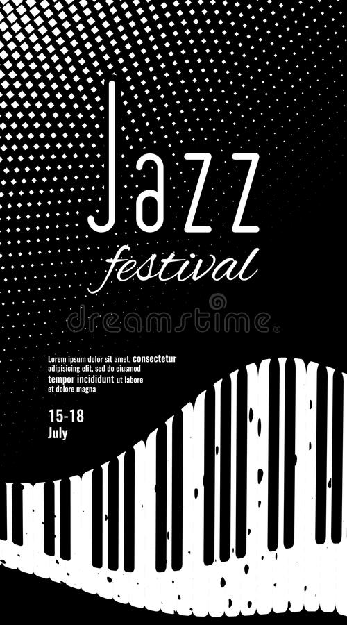 Download jazz festival black and white monochrome abstract background with piano keys stock vector