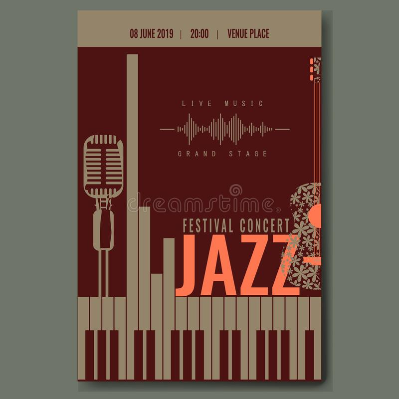Jazz festival concert poster template design with vintage retro mike silhouette and piano keyboard and flower guitar. Trendy color vector illustration stock illustration