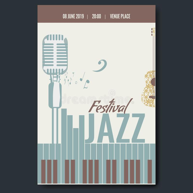 Jazz festival concert poster template design with vintage retro mike silhouette and piano keyboard and flower guitar. Trendy color vector illustration royalty free illustration