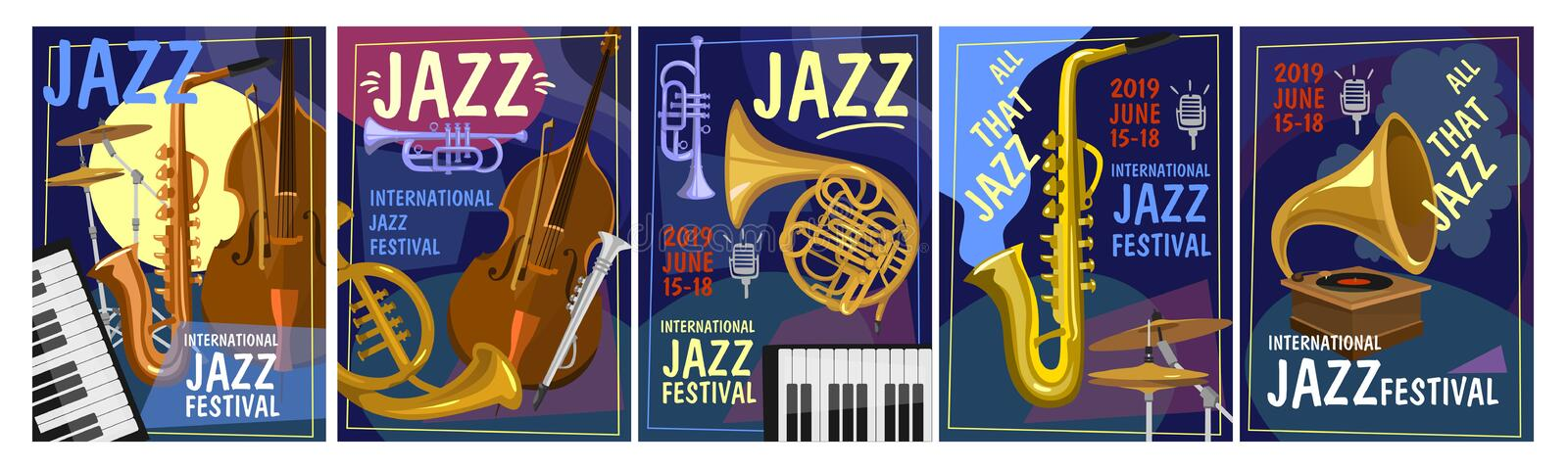 Jazz festival design concept. Colorful jazz party invitation posters set in cartoon style. Vector illustration stock illustration