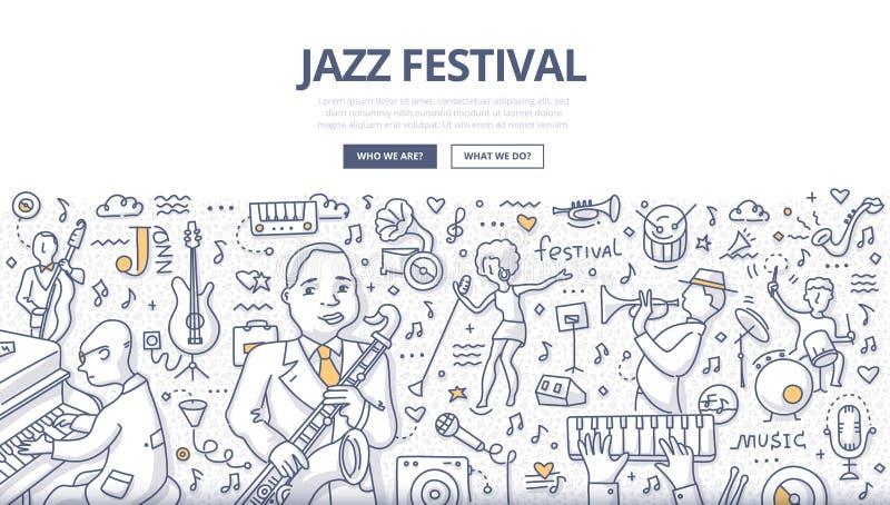 Jazz Festival Doodle Concept stock de ilustración