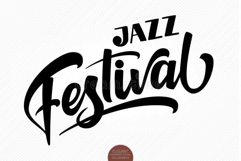 Jazz Festival Dragen bokstäver för vektor musikalisk hand Elegant modern handskriven kalligrafi Färgpulverillustration typografi vektor illustrationer