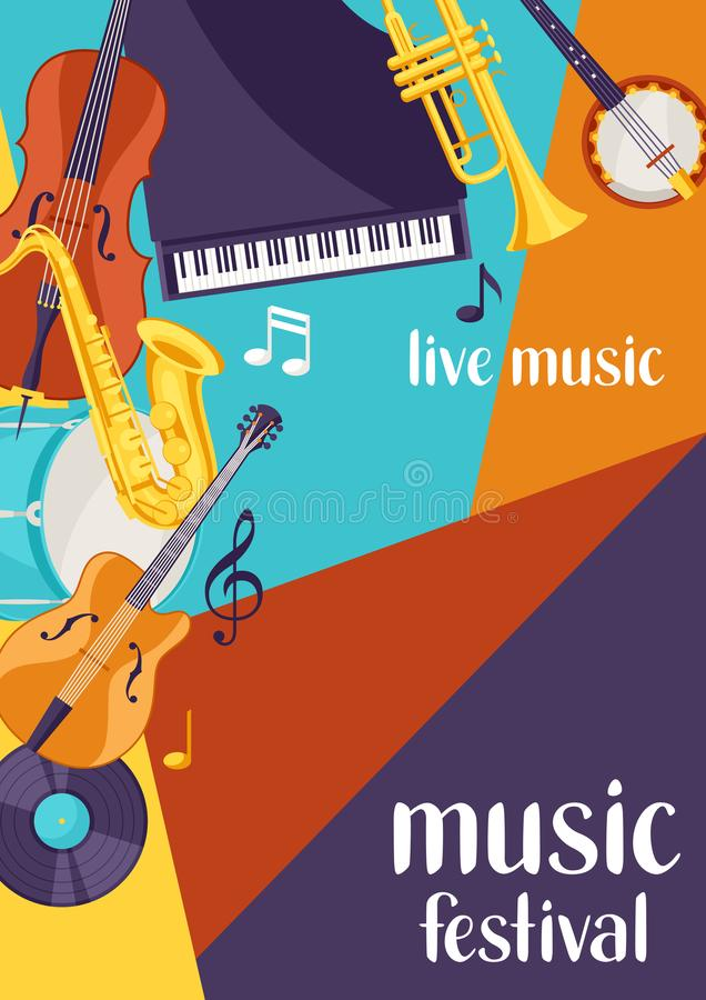 Jazz festival live music retro poster with musical instruments stock illustration