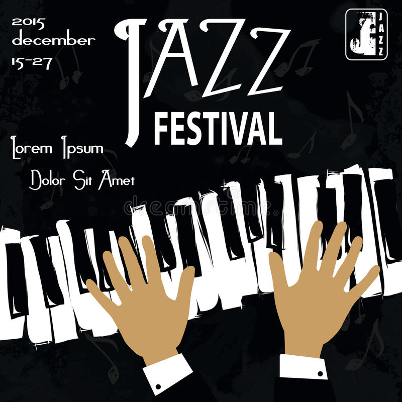 Jazz Festival Poster royaltyfri illustrationer