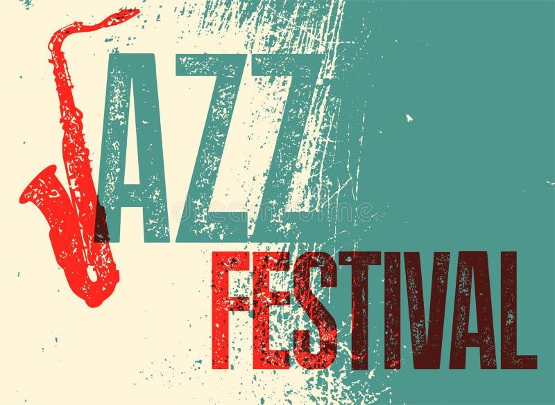 Jazz Festival Poster Ejemplo tipográfico retro del vector del grunge ilustración del vector