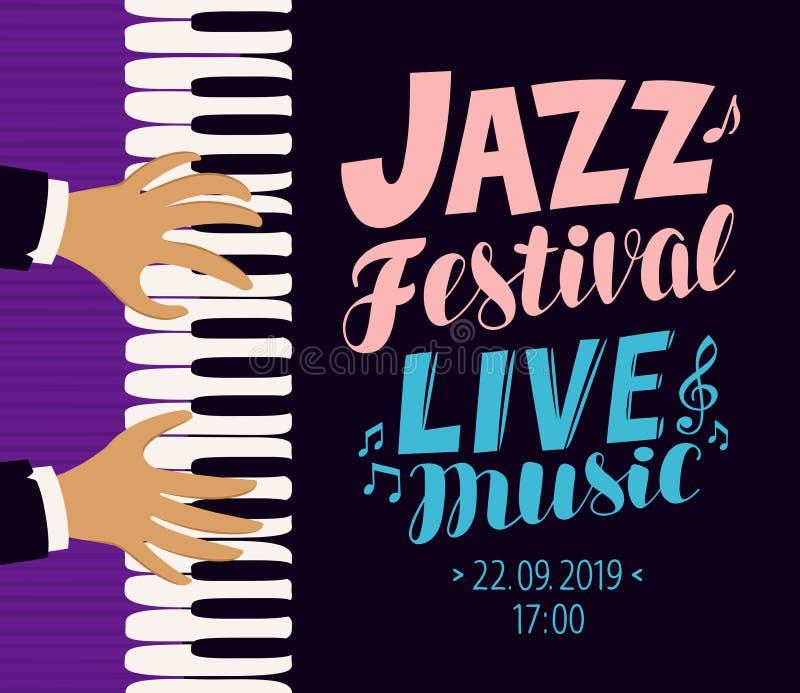 Jazz Festival Poster Musica in diretta, concetto di concerto Illustrazione di vettore illustrazione di stock
