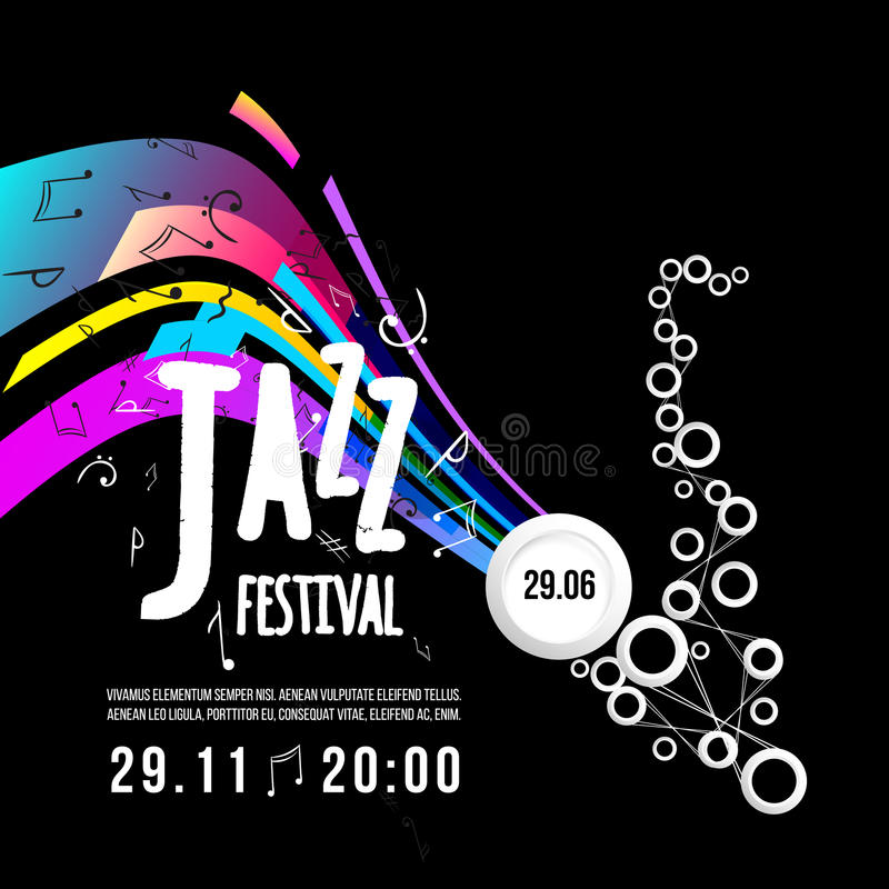 Jazz festival poster template. Jazz music. Saxophone. International Jazz Day. Vector design element royalty free illustration