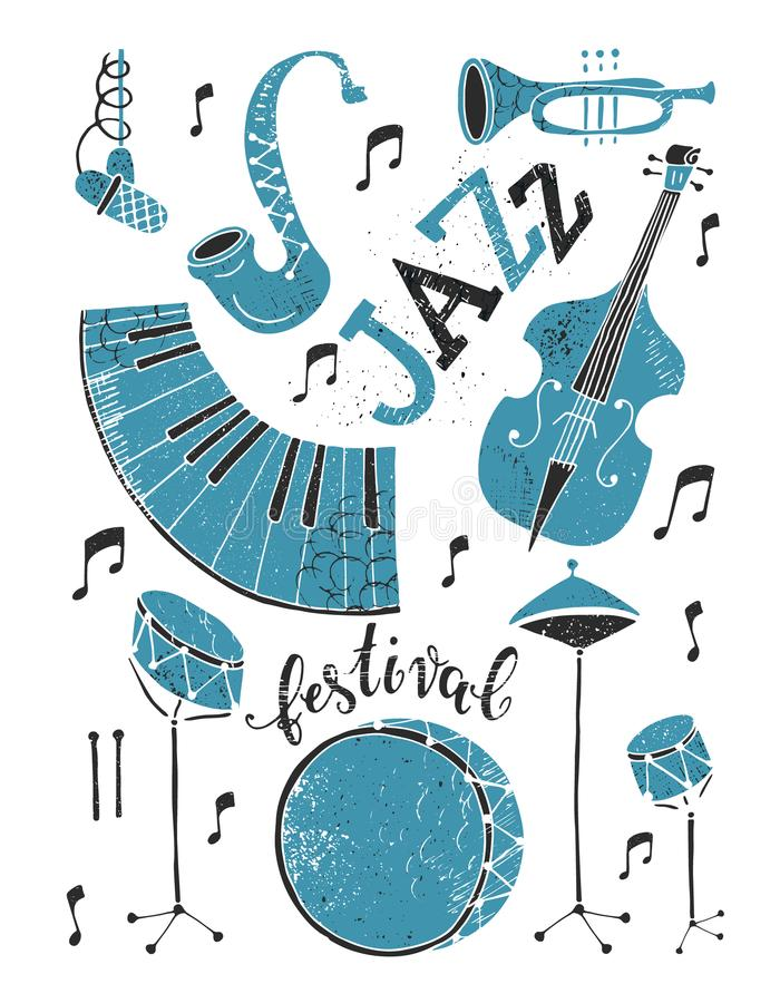 Jazz festival poster stock illustration