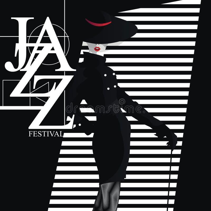 Jazz Festival Rétro une affiche avec la fille élégante illustration libre de droits