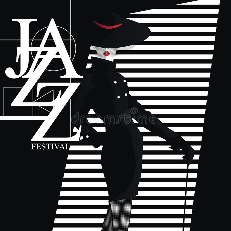 Jazz Festival Retro en affisch med den stilfulla flickan royaltyfri illustrationer