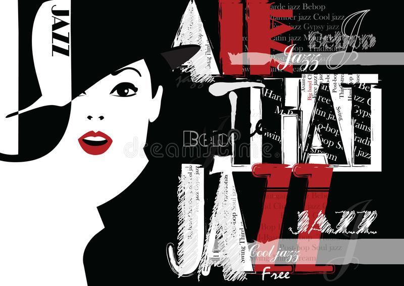 Jazz Festival Retro en affisch med den stilfulla flickan stock illustrationer