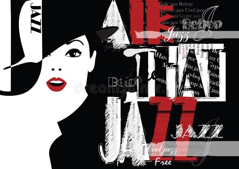 Jazz Festival Retro un cartel con la muchacha elegante stock de ilustración