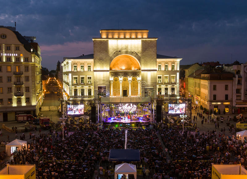 Jazz Festival Timisoara, Romania 1-3 july 2016. Aerial view taken by a professional drone at JAZZTM event - Jazz Festival Timisoara, Romania 1-3 july 2016 stock photo