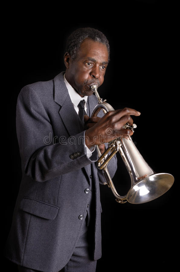 Jazz Flugelhorn Player negra imagen de archivo libre de regalías
