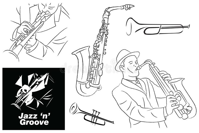 Jazz Groove Sketch, Line Art and Elements vector illustration