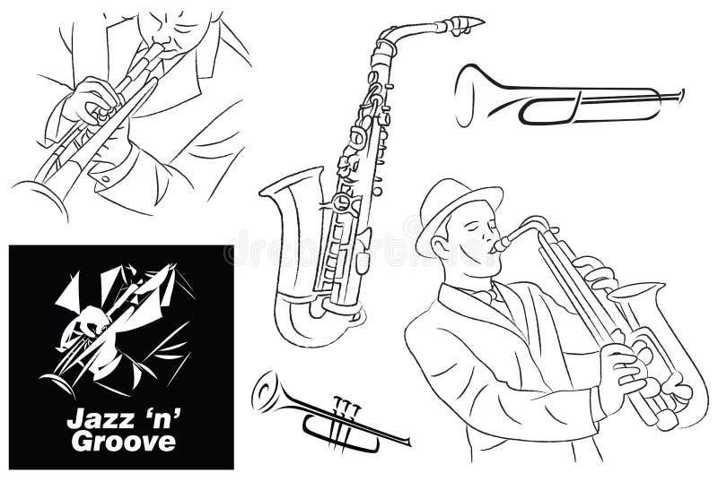 Jazz Groove Sketch linje konst och beståndsdelar vektor illustrationer