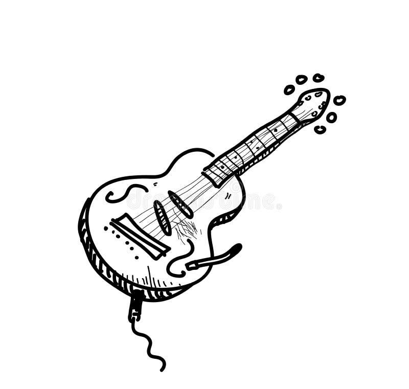 Jazz Guitar Doodle stock illustratie