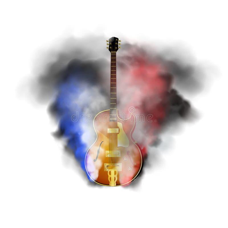 Jazz guitar in smoke royalty free illustration