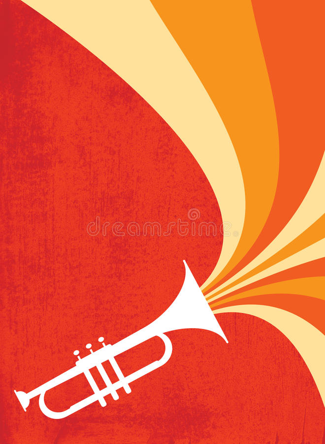 Jazz Horn Blast: Red_Orange. Hot jazz, cool jazz, the trumpets play on! This dynamic horn blast is useful in a variety of applications - a full page ad, magazine vector illustration