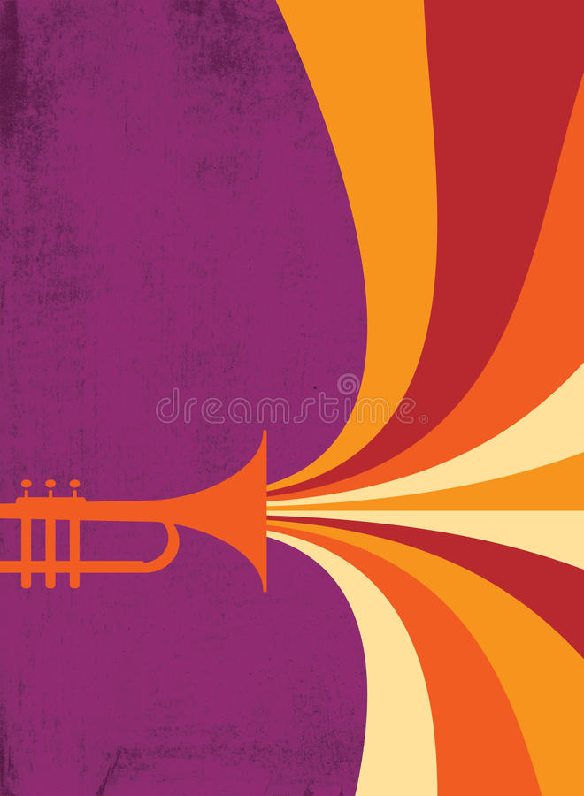 Jazz Horn Blast: Red, Violet. Hot jazz, cool jazz, the trumpets play on! This dynamic horn blast is useful in a variety of applications. Designed by Jazz: Cool vector illustration