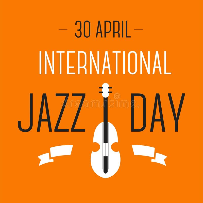 Jazz international day celebration violin musical instrument. Violin musical instrument jazz international day celebration vector festival song or melody music stock illustration