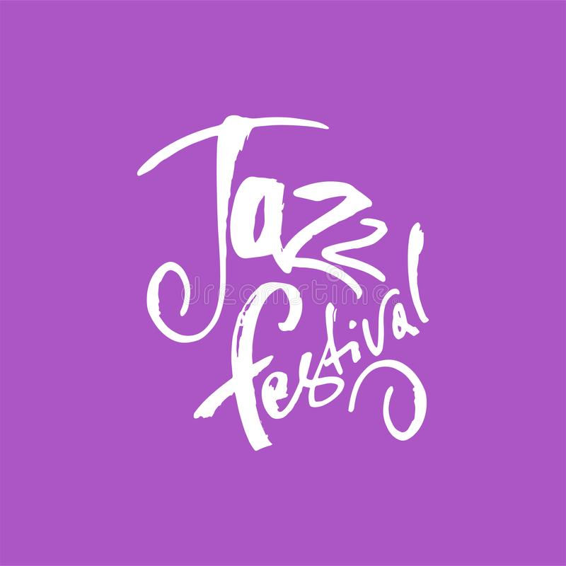 jazz Lettrage de stylo de brosse Inscription d'encre de vecteur Style moderne de calligraphie Notes de piano (jpg+eps) Perfection illustration stock