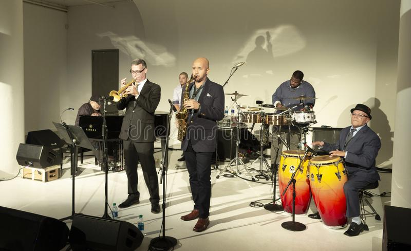 Jazz Loft Party 2018. New York, NY - October 13, 2018: Eddie Palmieri Afro-Carribean Jazz Sextet performs at Loft Party A Night for the Soul for Jazz Foundation stock image