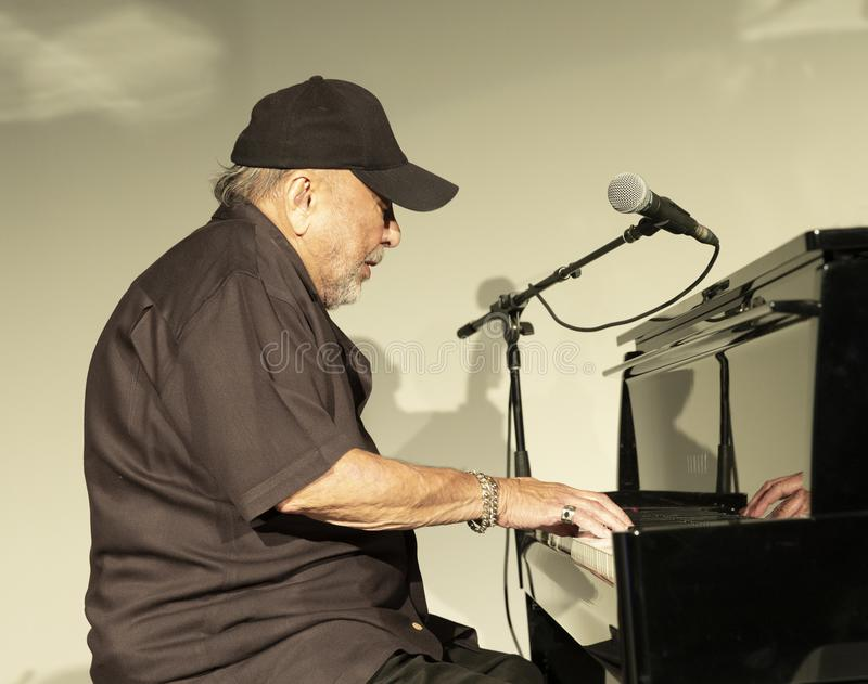 Jazz Loft Party 2018. New York, NY - October 13, 2018: Eddie Palmieri Afro-Carribean Jazz Sextet performs at Loft Party A Night for the Soul for Jazz Foundation royalty free stock photography