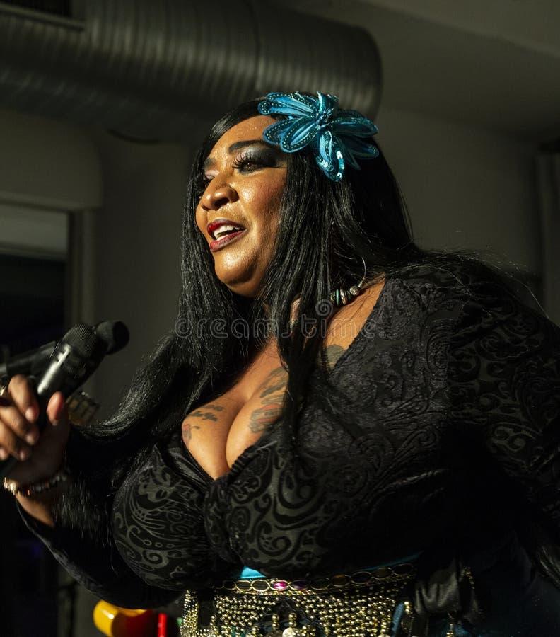 Jazz Loft Party 2018. New York, NY - October 13, 2018: Ms Zeno-Louisiana Mojo Queen performs with The Blues at Loft Party A Night for the Soul for Jazz royalty free stock photo