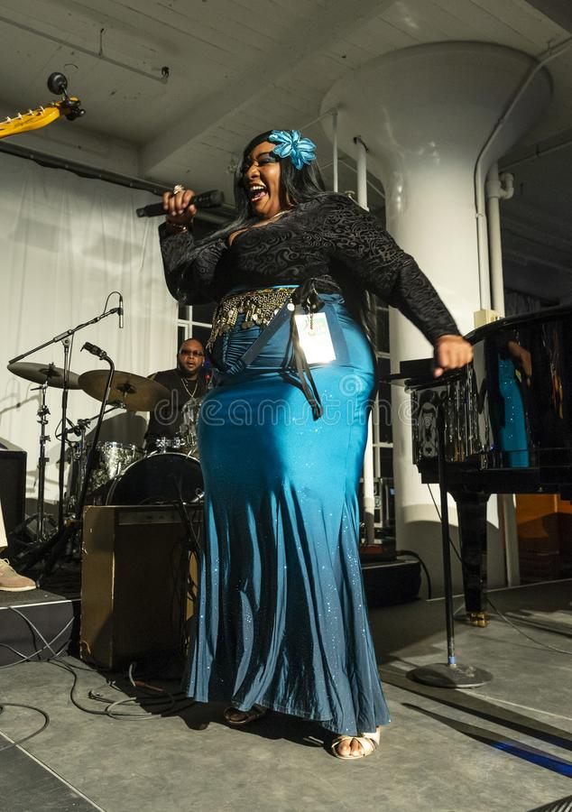 Jazz Loft Party 2018. New York, NY - October 13, 2018: Ms Zeno-Louisiana Mojo Queen performs with The Blues at Loft Party A Night for the Soul for Jazz stock images