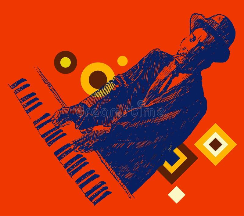 JAZZ Man Playing de Getrokken Pianohand, Schets vector illustratie
