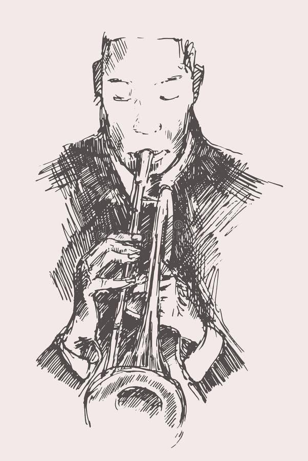 JAZZ Man Playing la trompette tirée par la main, croquis illustration stock