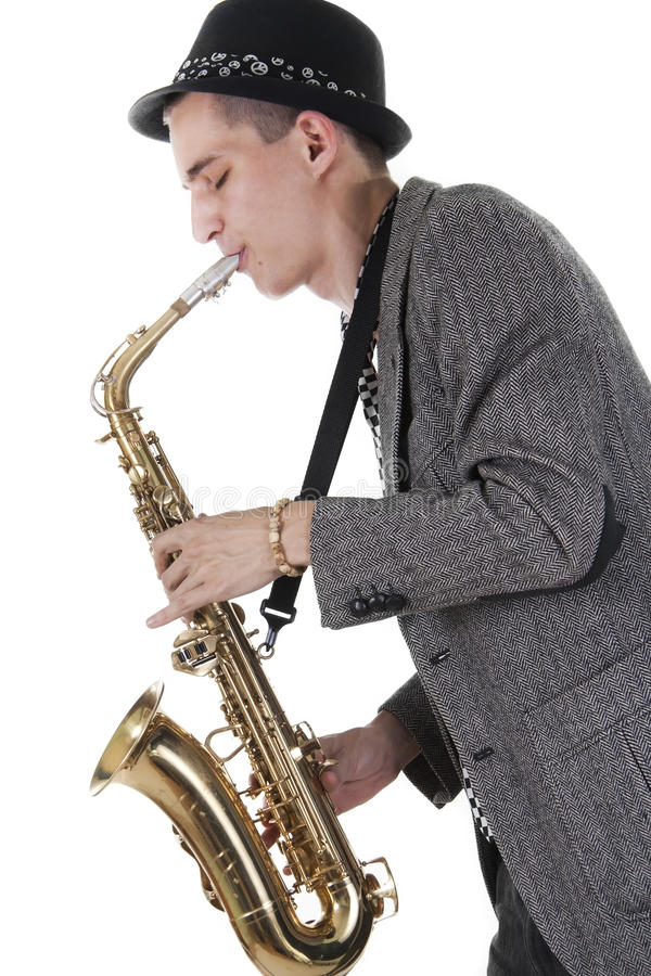 Download Jazz man plays a saxophone stock photo. Image of arts - 17345800